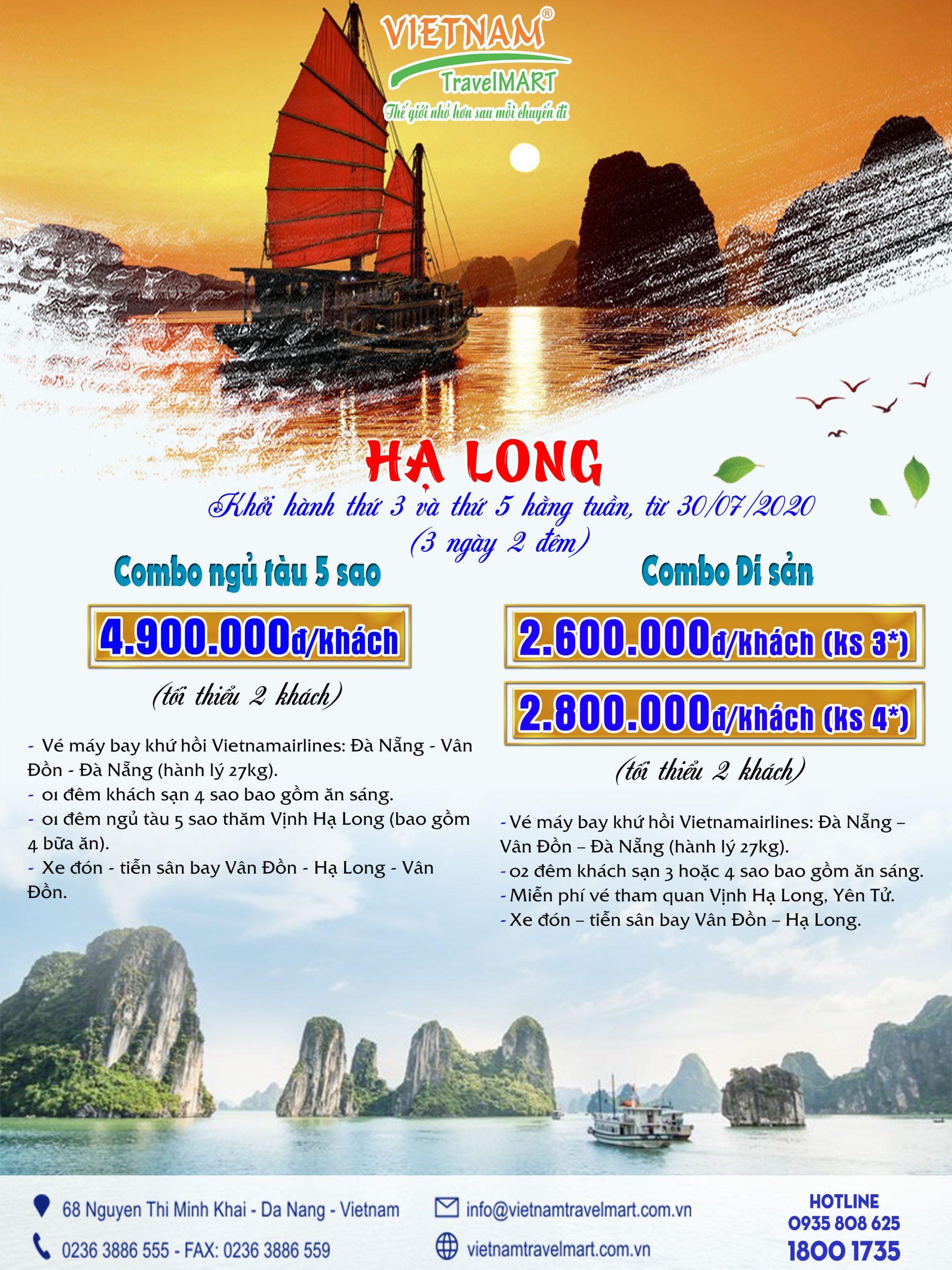 Combo Đà Nẵng - Vân Đồn Hạ Long bay Vietnam Airlines 3 ngày 2 đêm