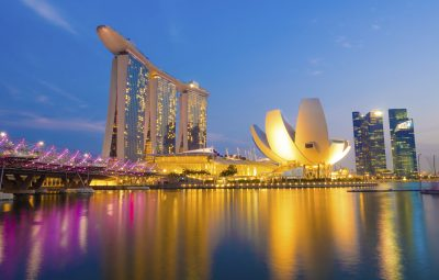 Singapore City, Singapore - June 22, 2014: Singapore Skyline and view of Marina Bay.